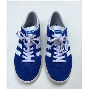 Blue suede Adidas shoes